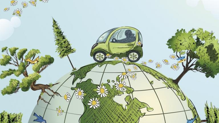 Car Driving Over Globe with Trees Flowers and Birds 96420121 4636x3593